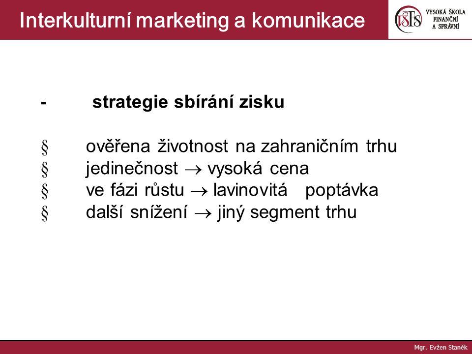 Mgr. Evžen Staněk Interkulturní marketing a komunikace - strategie max. příjmů  množství produkce, pro kterou je zajištěn prodej za cenu vyšší než je