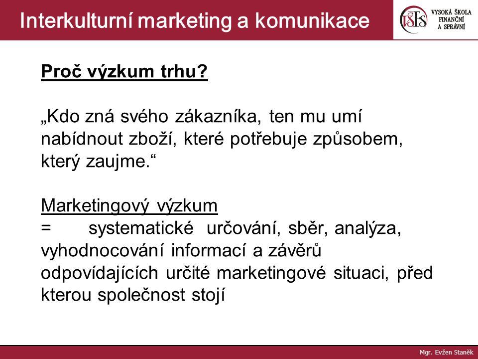 Interkulturní marketing a komunikace Proč výzkum trhu.