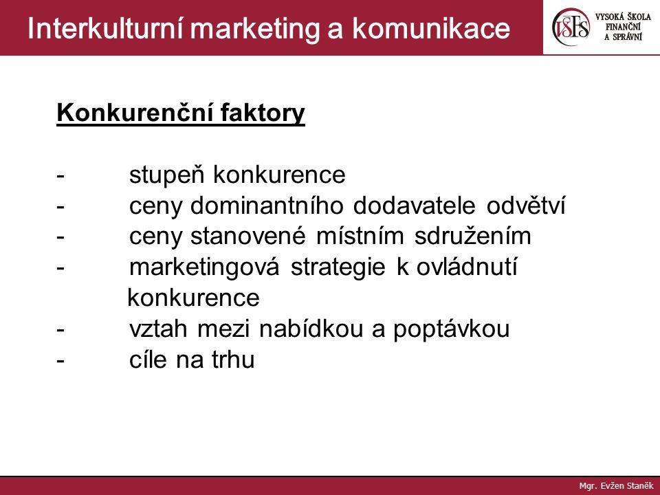 Mgr. Evžen Staněk Interkulturní marketing a komunikace Nákladové faktory - náklady na výrobu zboží - podíl režijních nákladů na export - náklady na vý