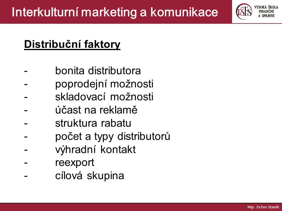 Mgr. Evžen Staněk Interkulturní marketing a komunikace Konkurenční faktory - stupeň konkurence - ceny dominantního dodavatele odvětví - ceny stanovené