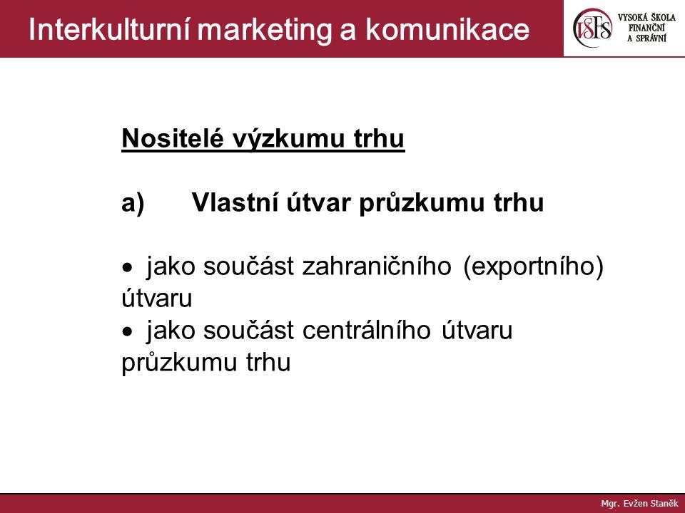 Mgr. Evžen Staněk Interkulturní marketing a komunikace Mezinárodní výzkum trhu =sběr, zpracování, analýza a interpretace informací interního a externí