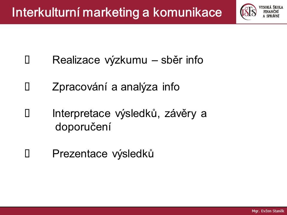 Mgr.Evžen Staněk Interkulturní marketing a komunikace II.
