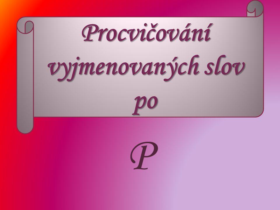 Procvičování vyjmenovaných slov po P