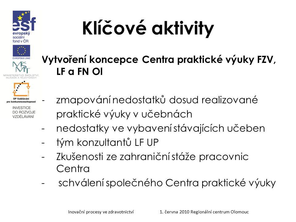 Inovační procesy ve zdravotnictví 1. června 2010 Regionální centrum Olomouc Klíčové aktivity Vytvoření koncepce Centra praktické výuky FZV, LF a FN Ol