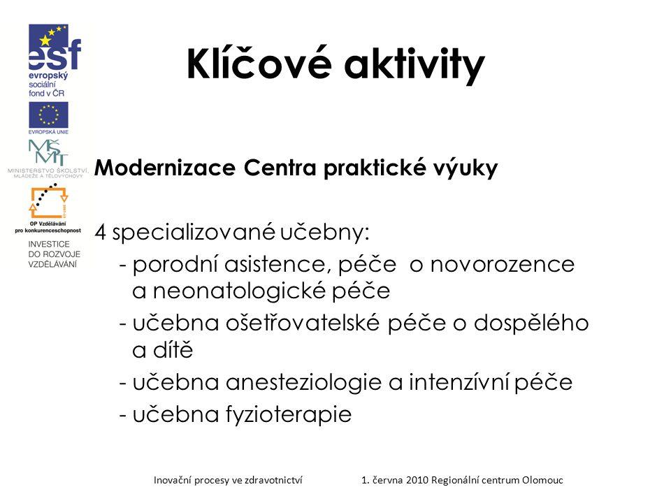 Inovační procesy ve zdravotnictví 1. června 2010 Regionální centrum Olomouc Klíčové aktivity Modernizace Centra praktické výuky 4 specializované učebn