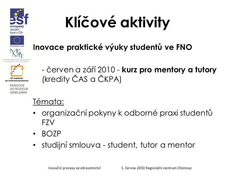 Klíčové aktivity Inovace praktické výuky studentů ve FNO - červen a září 2010 - kurz pro mentory a tutory (kredity ČAS a ČKPA) Témata: organizační pok