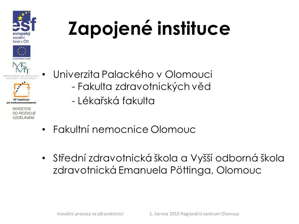 Inovační procesy ve zdravotnictví 1. června 2010 Regionální centrum Olomouc Zapojené instituce Univerzita Palackého v Olomouci - Fakulta zdravotnickýc