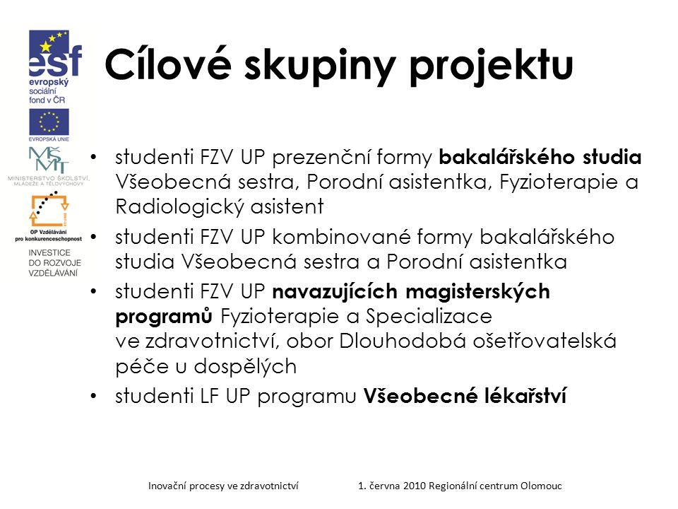 Inovační procesy ve zdravotnictví 1. června 2010 Regionální centrum Olomouc Cílové skupiny projektu studenti FZV UP prezenční formy bakalářského studi