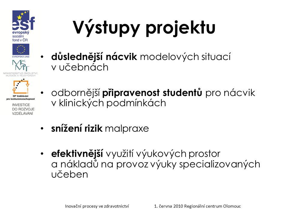 Inovační procesy ve zdravotnictví 1. června 2010 Regionální centrum Olomouc Výstupy projektu důslednější nácvik modelových situací v učebnách odborněj