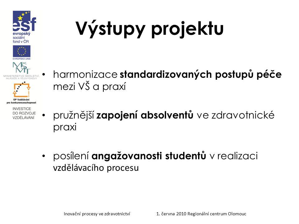 Inovační procesy ve zdravotnictví 1. června 2010 Regionální centrum Olomouc Výstupy projektu harmonizace standardizovaných postupů péče mezi VŠ a prax
