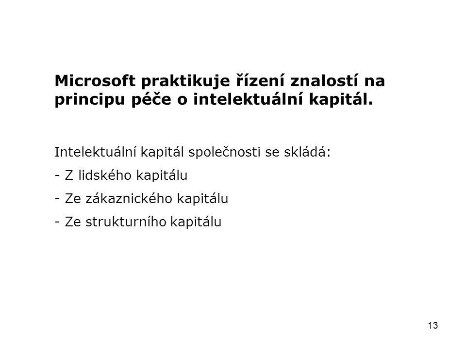 13 Microsoft praktikuje řízení znalostí na principu péče o intelektuální kapitál. Intelektuální kapitál společnosti se skládá: - Z lidského kapitálu -