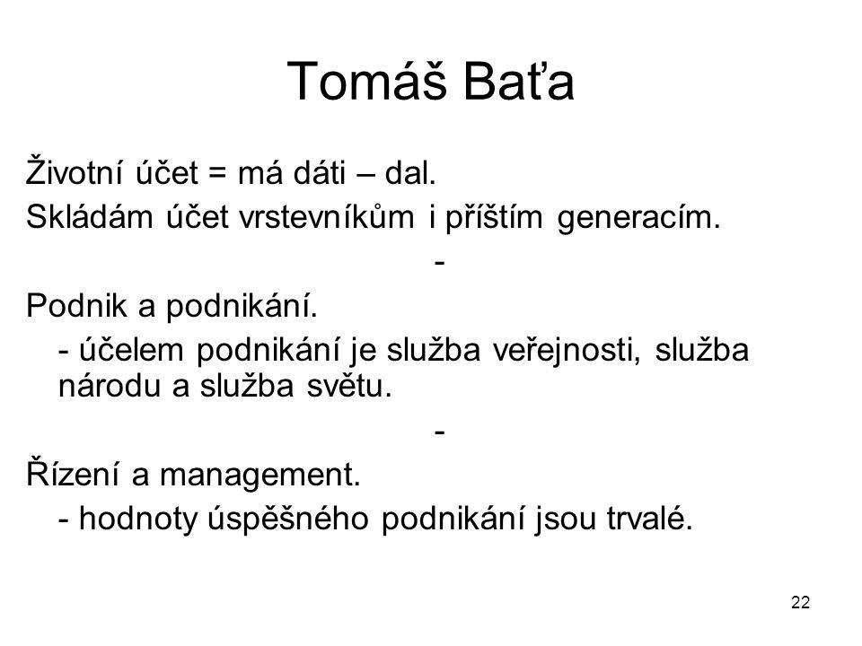 22 Tomáš Baťa Životní účet = má dáti – dal. Skládám účet vrstevníkům i příštím generacím. - Podnik a podnikání. - účelem podnikání je služba veřejnost
