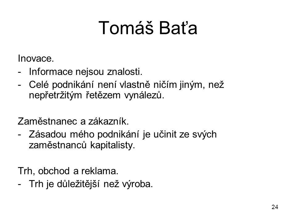 24 Tomáš Baťa Inovace. -Informace nejsou znalosti. -Celé podnikání není vlastně ničím jiným, než nepřetržitým řetězem vynálezů. Zaměstnanec a zákazník