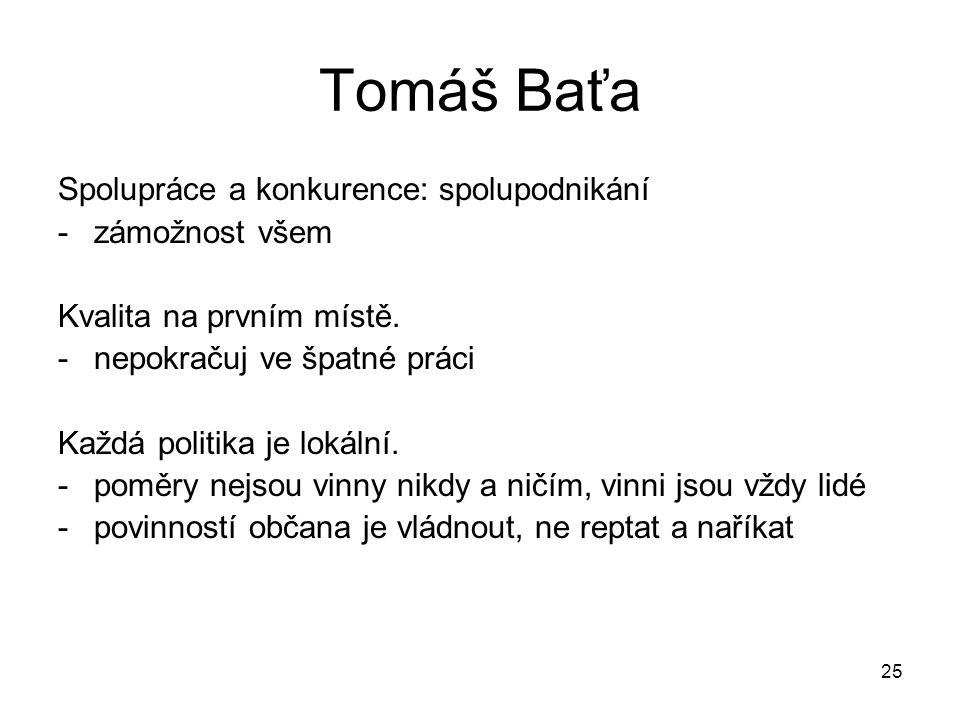 25 Tomáš Baťa Spolupráce a konkurence: spolupodnikání -zámožnost všem Kvalita na prvním místě. -nepokračuj ve špatné práci Každá politika je lokální.