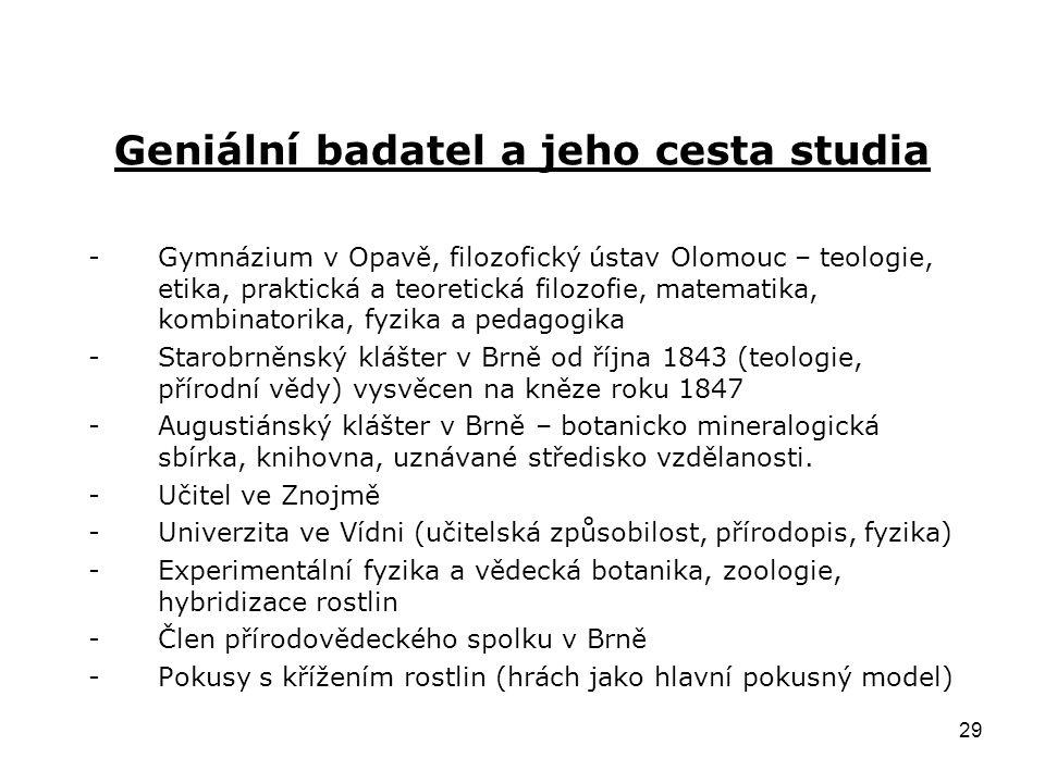 29 Geniální badatel a jeho cesta studia -Gymnázium v Opavě, filozofický ústav Olomouc – teologie, etika, praktická a teoretická filozofie, matematika,