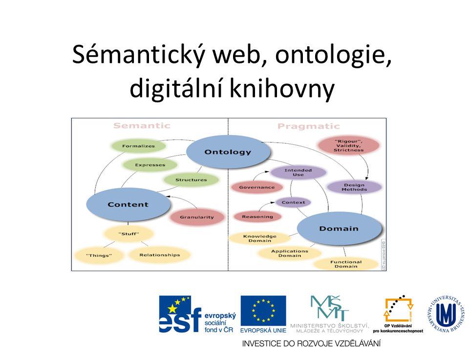 Inference znalostí Pojem inference – 1) dobře navržená logická heuristika pro odvozování nových znalostí – 2) odvozená znalost Inference znalostí - odvozování nových znalostí na základě existujících (známých) znalostí (inferencí) Využití v sémantickém webu při strojovém vyhledávání nových znalostí