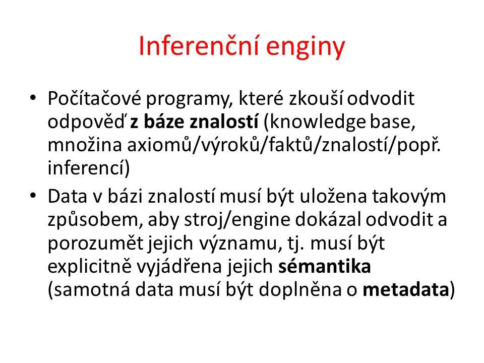 Inferenční enginy Počítačové programy, které zkouší odvodit odpověď z báze znalostí (knowledge base, množina axiomů/výroků/faktů/znalostí/popř.