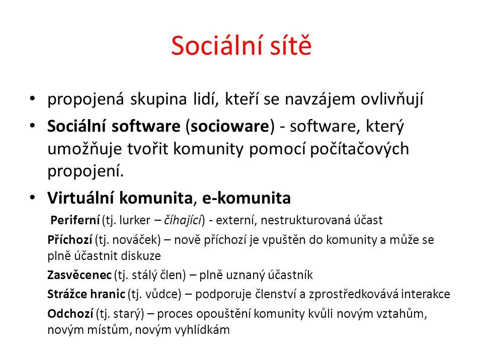 Sociální sítě propojená skupina lidí, kteří se navzájem ovlivňují Sociální software (socioware) - software, který umožňuje tvořit komunity pomocí počí