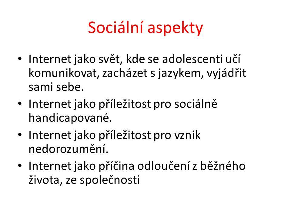 Sociální aspekty Internet jako svět, kde se adolescenti učí komunikovat, zacházet s jazykem, vyjádřit sami sebe. Internet jako příležitost pro sociáln
