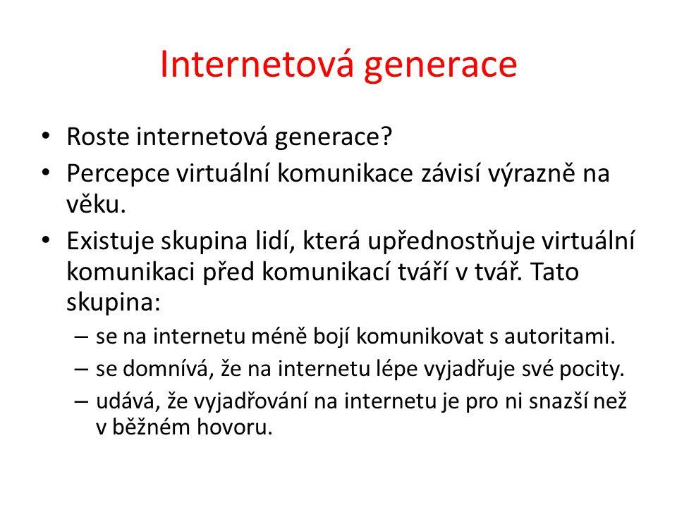 Internetová generace Roste internetová generace.
