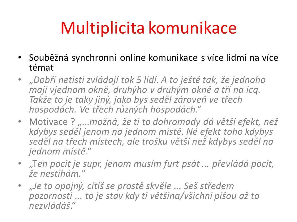 """Multiplicita komunikace Souběžná synchronní online komunikace s více lidmi na více témat """"Dobří netisti zvládají tak 5 lidí. A to ještě tak, že jednoh"""