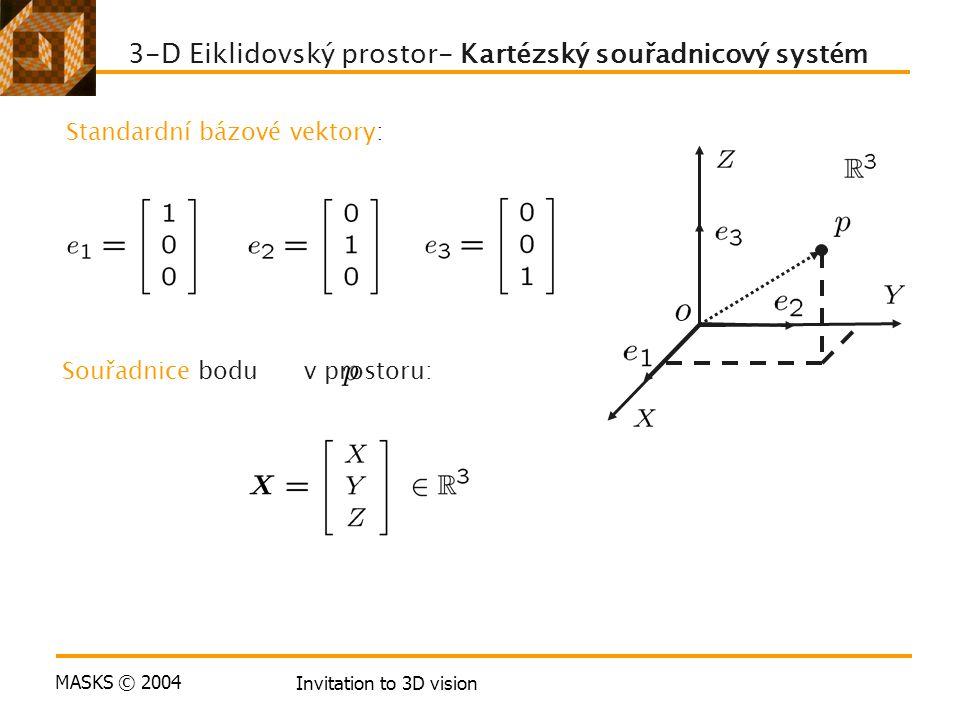 MASKS © 2004 Invitation to 3D vision 3-D Eiklidovský prostor- Kartézský souřadnicový systém Standardní bázové vektory: Souřadnice bodu v prostoru: