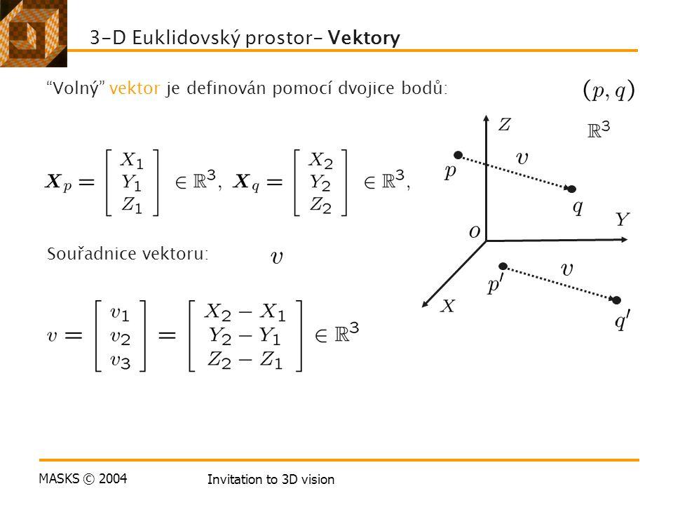 MASKS © 2004 Invitation to 3D vision 3-D Euklidovský prostor- Vektory Volný vektor je definován pomocí dvojice bodů: Souřadnice vektoru: