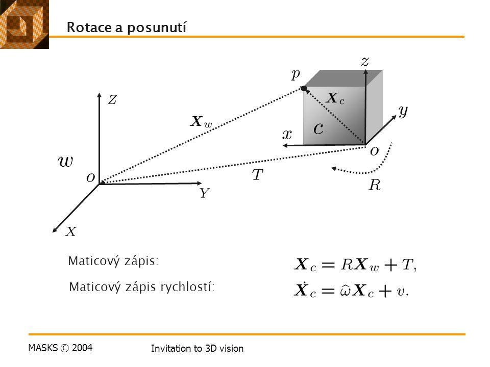 MASKS © 2004 Invitation to 3D vision Rotace a posunutí Maticový zápis: Maticový zápis rychlostí:
