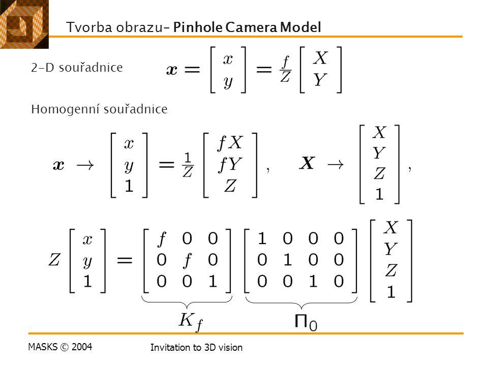 MASKS © 2004 Invitation to 3D vision Tvorba obrazu– Pinhole Camera Model 2-D souřadnice Homogenní souřadnice