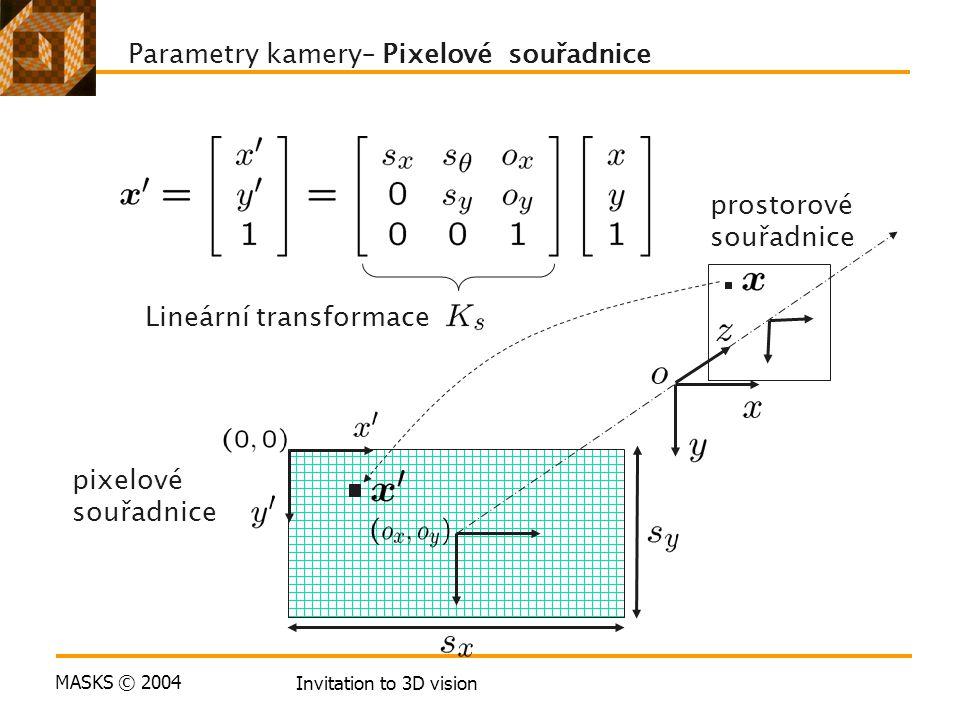 MASKS © 2004 Invitation to 3D vision pixelové souřadnice Lineární transformace Parametry kamery– Pixelové souřadnice prostorové souřadnice