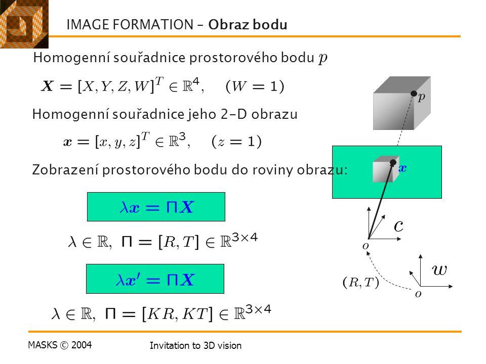 MASKS © 2004 Invitation to 3D vision Homogenní souřadnice prostorového bodu Homogenní souřadnice jeho 2-D obrazu IMAGE FORMATION – Obraz bodu Zobrazení prostorového bodu do roviny obrazu: