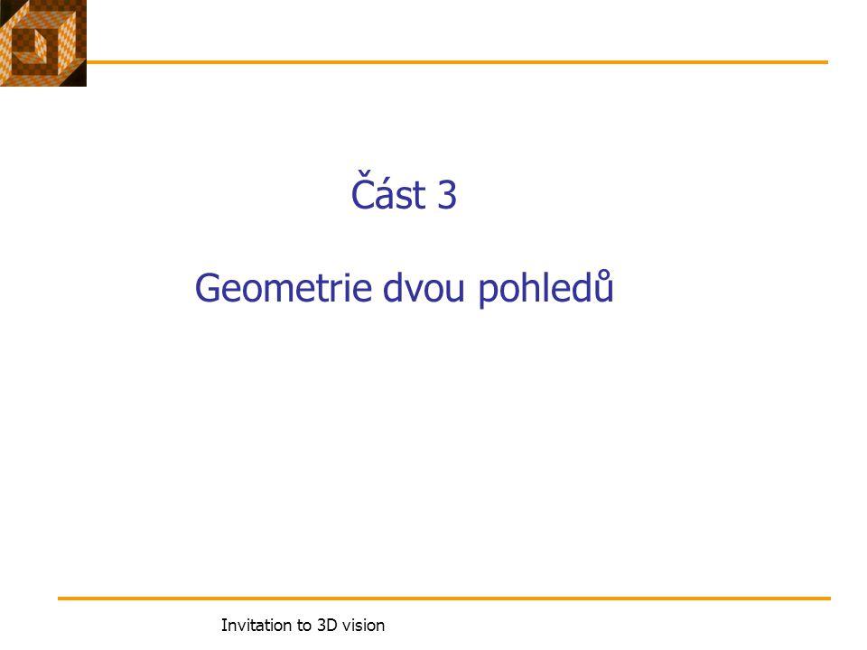 Invitation to 3D vision Část 3 Geometrie dvou pohledů