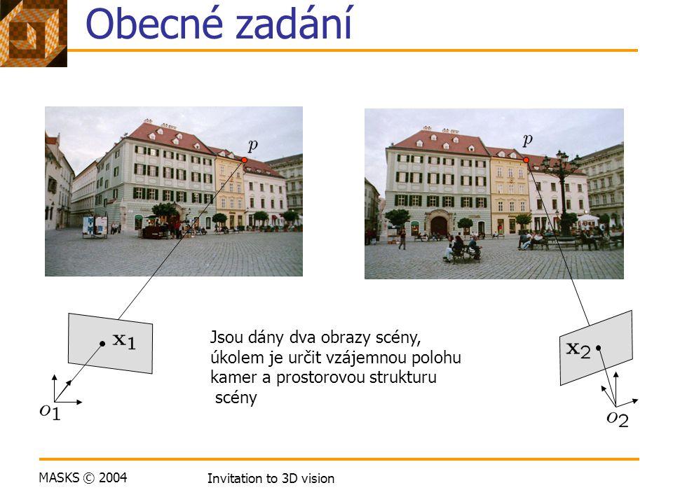 MASKS © 2004 Invitation to 3D vision Obecné zadání Jsou dány dva obrazy scény, úkolem je určit vzájemnou polohu kamer a prostorovou strukturu scény