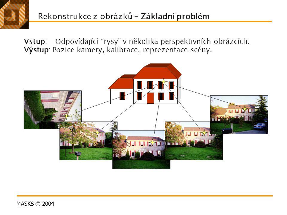 """MASKS © 2004 Rekonstrukce z obrázků – Základní problém Vstup: Odpovídající """"rysy"""" v několika perspektivních obrázcích. Výstup: Pozice kamery, kalibrac"""