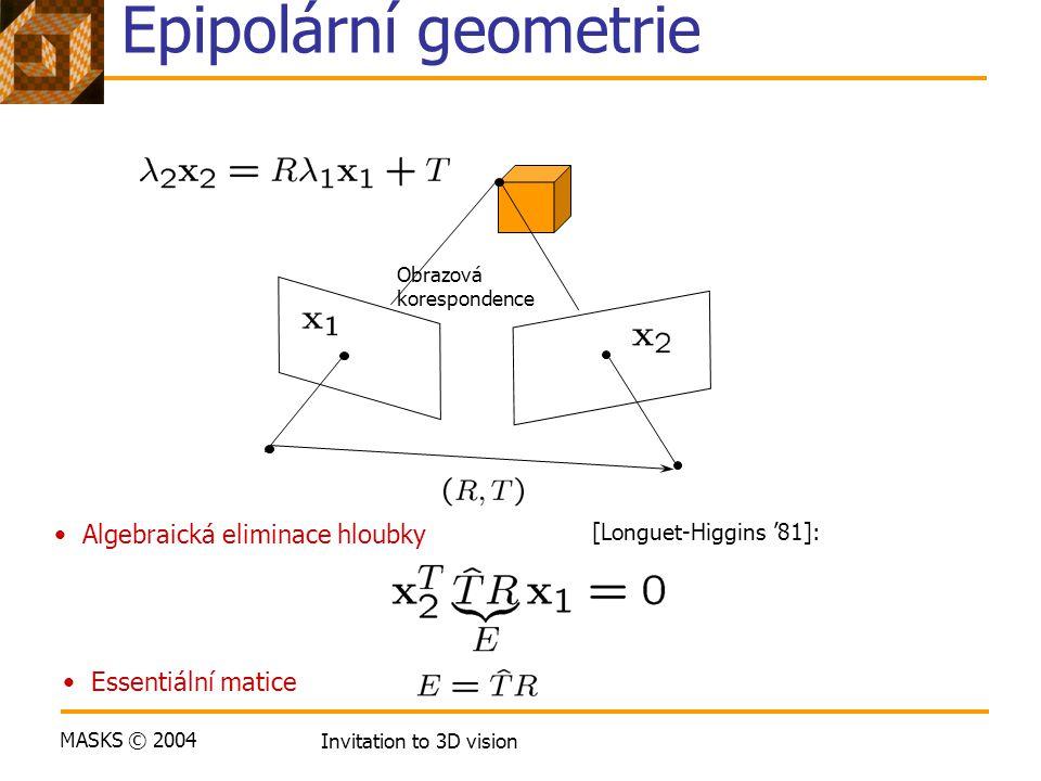 MASKS © 2004 Invitation to 3D vision Epipolární geometrie Algebraická eliminace hloubky [Longuet-Higgins '81]: Obrazová korespondence Essentiální mati