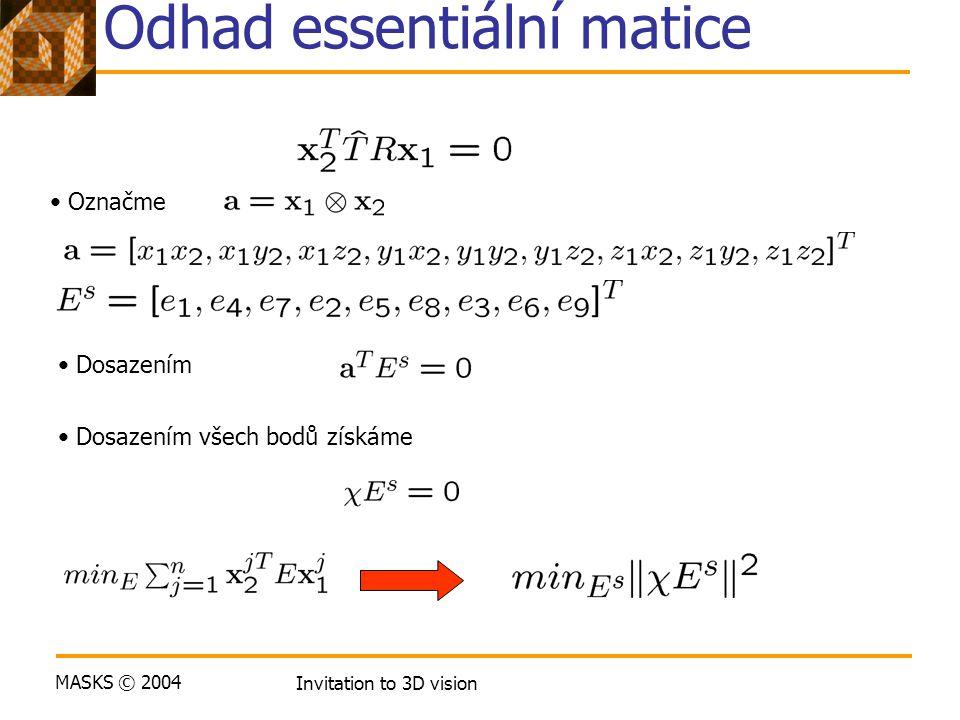 MASKS © 2004 Invitation to 3D vision Odhad essentiální matice Označme Dosazením Dosazením všech bodů získáme