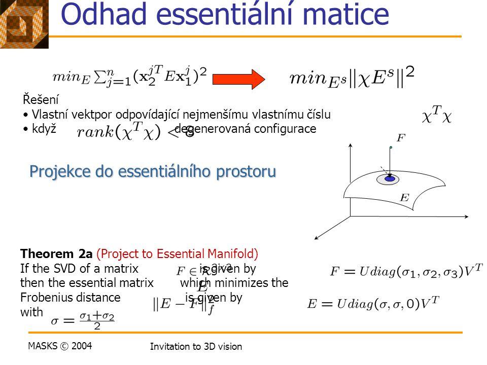 MASKS © 2004 Invitation to 3D vision Odhad essentiální matice Řešení Vlastní vektpor odpovídající nejmenšímu vlastnímu číslu když degenerovaná configu