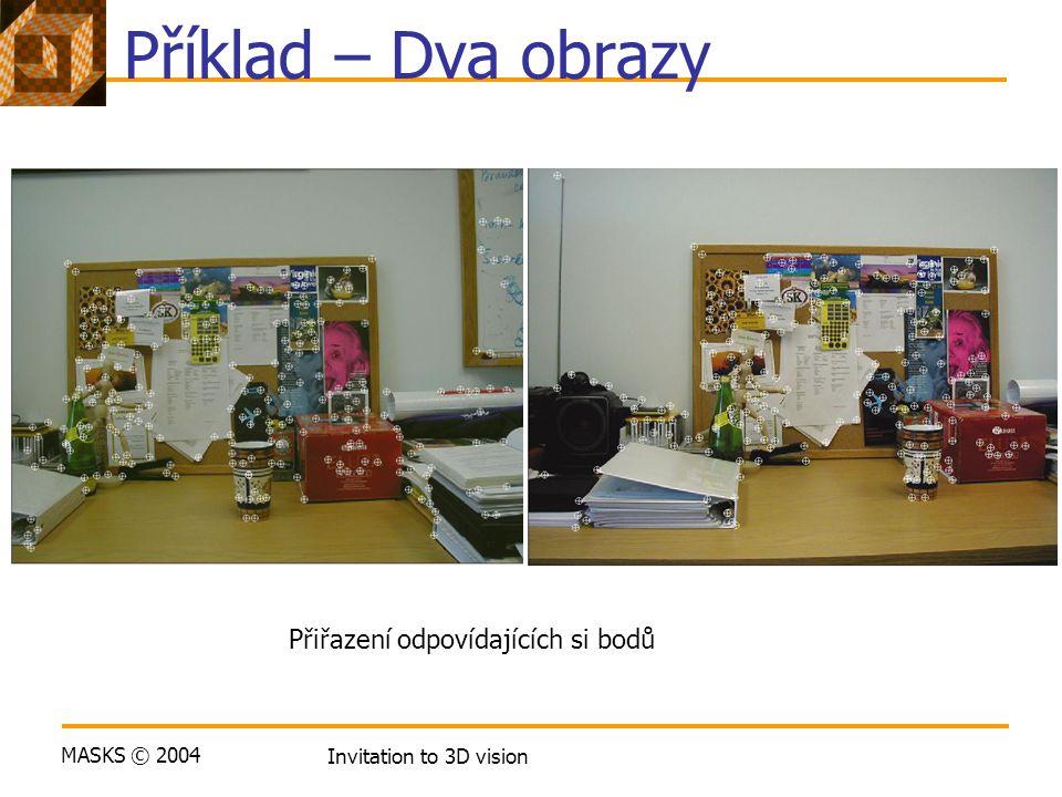 MASKS © 2004 Invitation to 3D vision Příklad – Dva obrazy Přiřazení odpovídajících si bodů