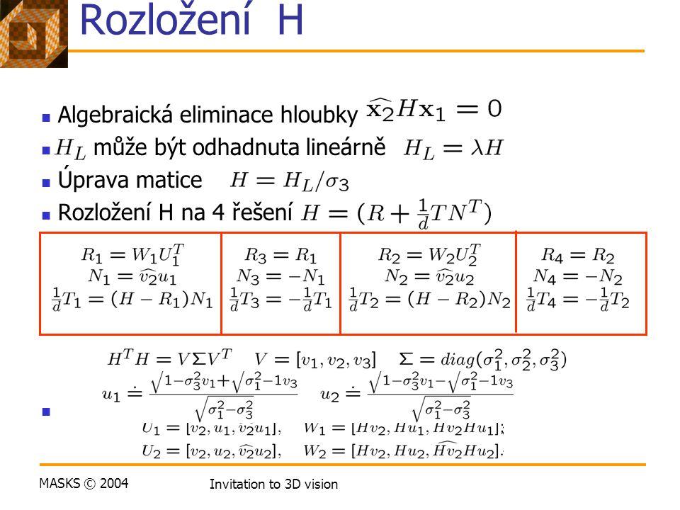 MASKS © 2004 Invitation to 3D vision Rozložení H Algebraická eliminace hloubky může být odhadnuta lineárně Úprava matice Rozložení H na 4 řešení