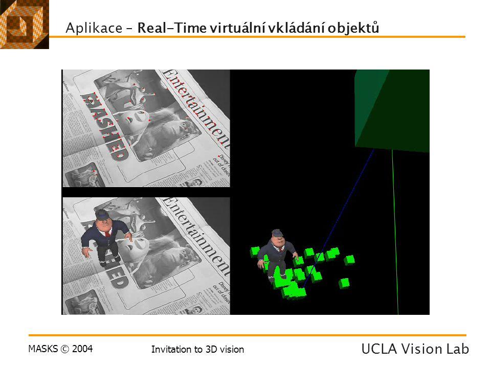 MASKS © 2004 Invitation to 3D vision Aplikace – Real-Time virtuální vkládání objektů UCLA Vision Lab
