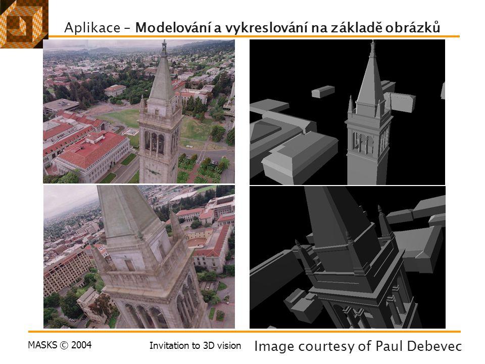 MASKS © 2004 Invitation to 3D vision Aplikace – Modelování a vykreslování na základě obrázků Image courtesy of Paul Debevec