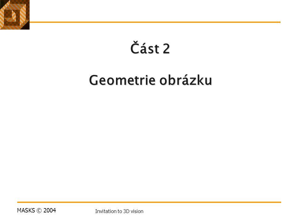 MASKS © 2004 Invitation to 3D vision Část 2 Geometrie obrázku