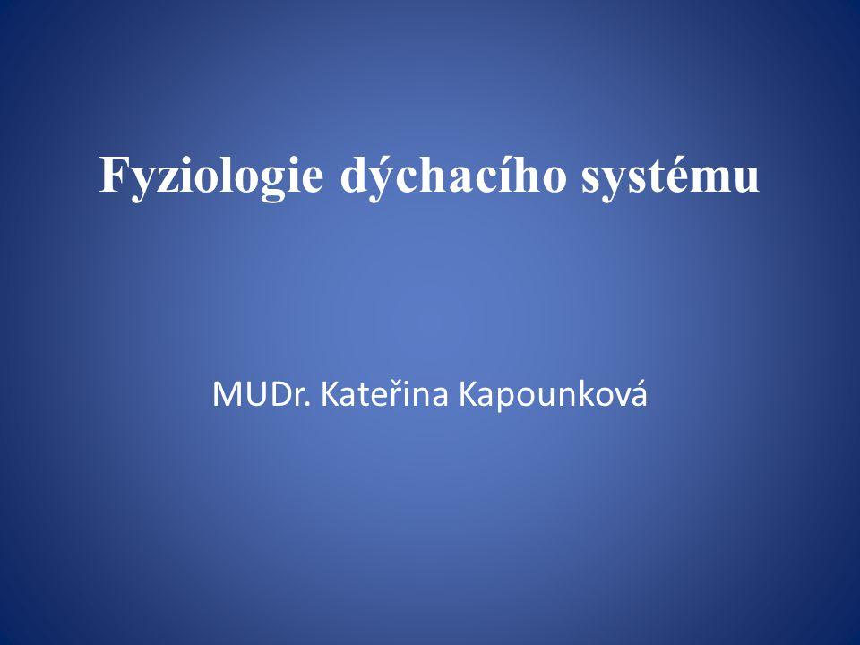 Fyziologie dýchacího systému MUDr. Kateřina Kapounková