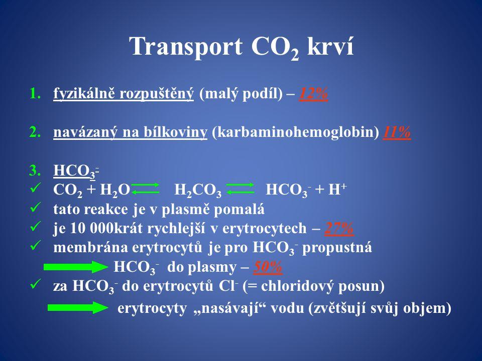 """Transport CO 2 krví 1.fyzikálně rozpuštěný (malý podíl) – 12% 2.navázaný na bílkoviny (karbaminohemoglobin) 11% 3.HCO 3 - CO 2 + H 2 O H 2 CO 3 HCO 3 - + H + tato reakce je v plasmě pomalá je 10 000krát rychlejší v erytrocytech – 27% membrána erytrocytů je pro HCO 3 - propustná HCO 3 - do plasmy – 50% za HCO 3 - do erytrocytů Cl - (= chloridový posun) erytrocyty """"nasávají vodu (zvětšují svůj objem)"""