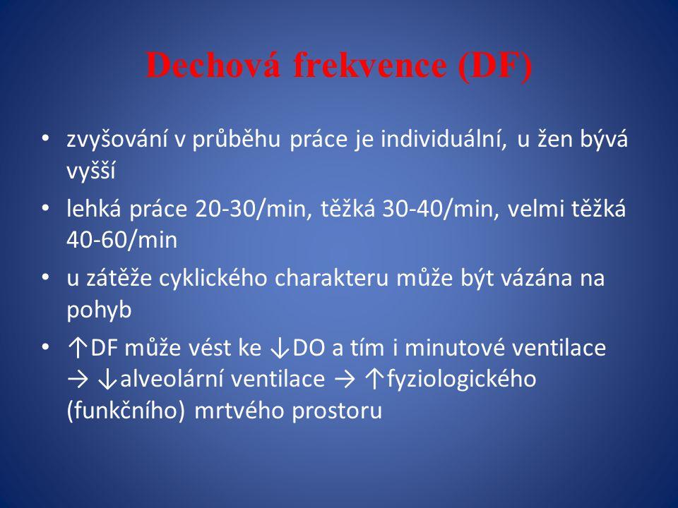 Dechová frekvence (DF) zvyšování v průběhu práce je individuální, u žen bývá vyšší lehká práce 20-30/min, těžká 30-40/min, velmi těžká 40-60/min u zátěže cyklického charakteru může být vázána na pohyb ↑DF může vést ke ↓DO a tím i minutové ventilace → ↓alveolární ventilace → ↑fyziologického (funkčního) mrtvého prostoru