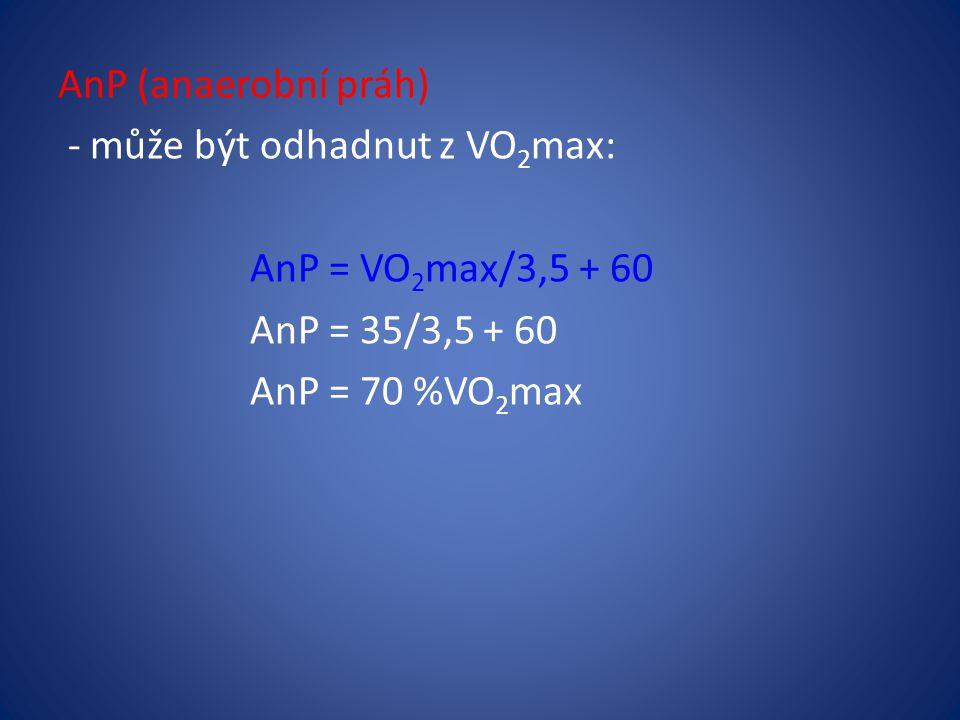 AnP (anaerobní práh) - může být odhadnut z VO 2 max: AnP = VO 2 max/3,5 + 60 AnP = 35/3,5 + 60 AnP = 70 %VO 2 max