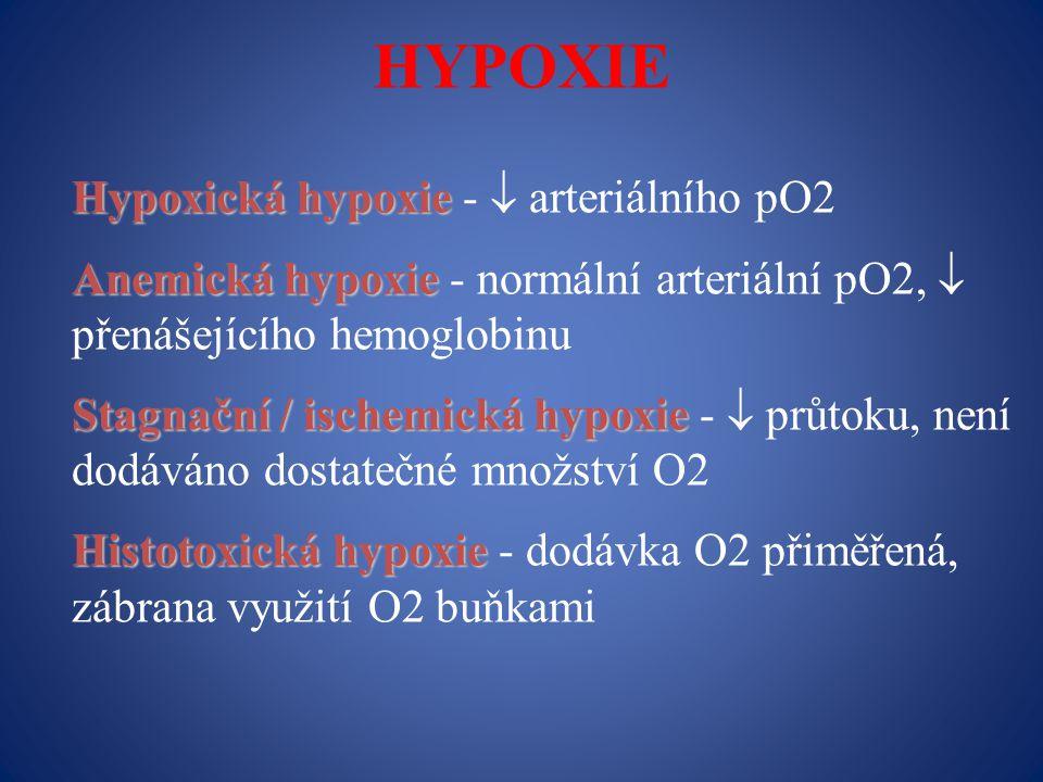 HYPOXIE Hypoxická hypoxie Hypoxická hypoxie -  arteriálního pO2 Anemická hypoxie Anemická hypoxie - normální arteriální pO2,  přenášejícího hemoglobinu Stagnační / ischemická hypoxie Stagnační / ischemická hypoxie -  průtoku, není dodáváno dostatečné množství O2 Histotoxická hypoxie Histotoxická hypoxie - dodávka O2 přiměřená, zábrana využití O2 buňkami