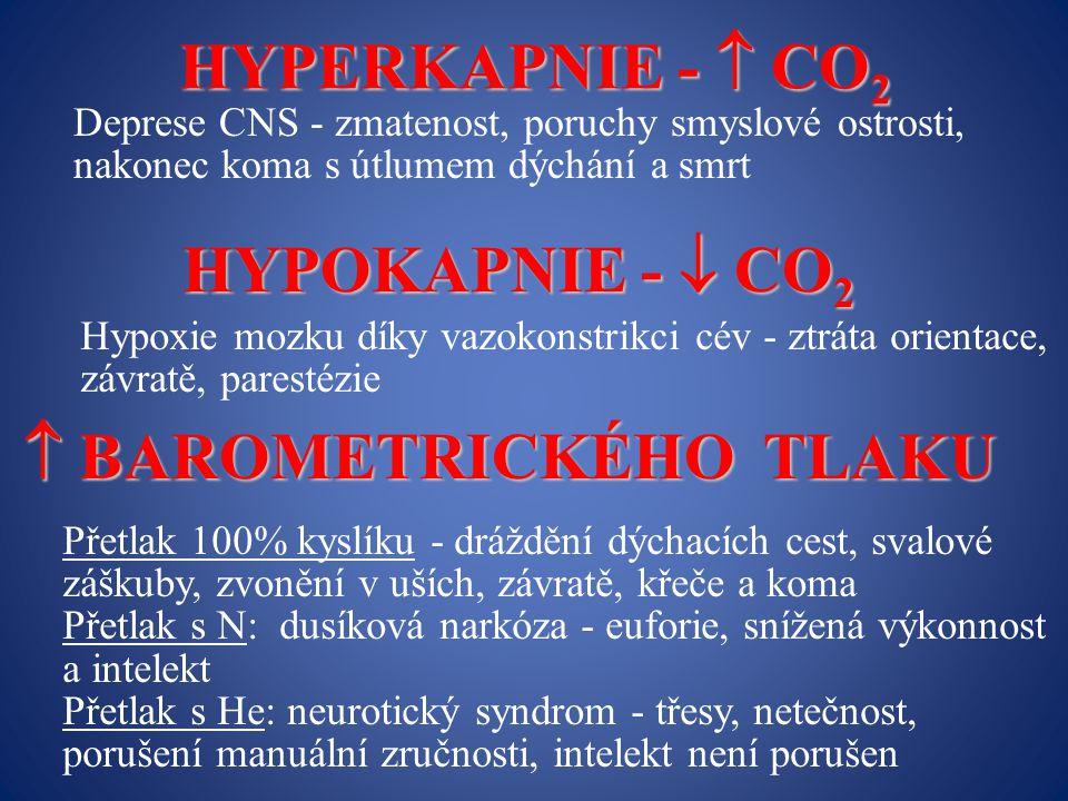 HYPERKAPNIE -  CO 2 Deprese CNS - zmatenost, poruchy smyslové ostrosti, nakonec koma s útlumem dýchání a smrt HYPOKAPNIE -  CO 2 Hypoxie mozku díky vazokonstrikci cév - ztráta orientace, závratě, parestézie  BAROMETRICKÉHO TLAKU Přetlak 100% kyslíku - dráždění dýchacích cest, svalové záškuby, zvonění v uších, závratě, křeče a koma Přetlak s N: dusíková narkóza - euforie, snížená výkonnost a intelekt Přetlak s He: neurotický syndrom - třesy, netečnost, porušení manuální zručnosti, intelekt není porušen