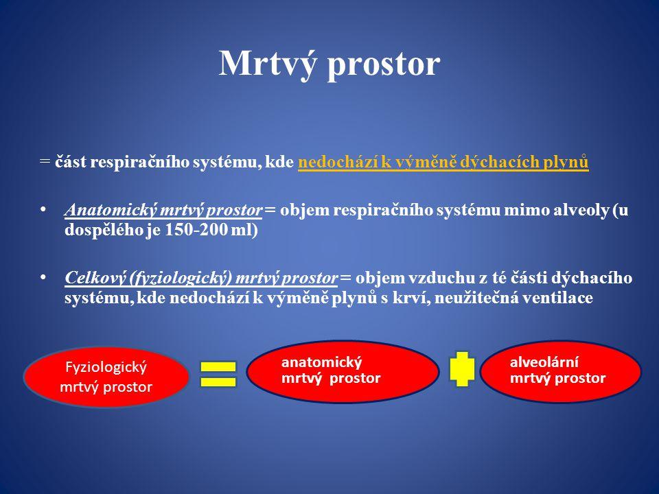 Statické plicní objemy: -dechový objem DO (0,5 l) -inspirační rezervní objem IRO (2,5 l) -exspirační rezervní objem ERO (1,5 l) -reziduální objem RO (1,5 l) Statické plicní kapacity: -vitální kapacita plic VC (4,5 l) = IRO+DO+ERO -celková kapacita plic TC (6 l) = IRO+DO+ERO+RO -inspirační kapacita IC (3 l) = IRO+DO -funkční reziduální kapacita FRC (3 l) = ERO+RO