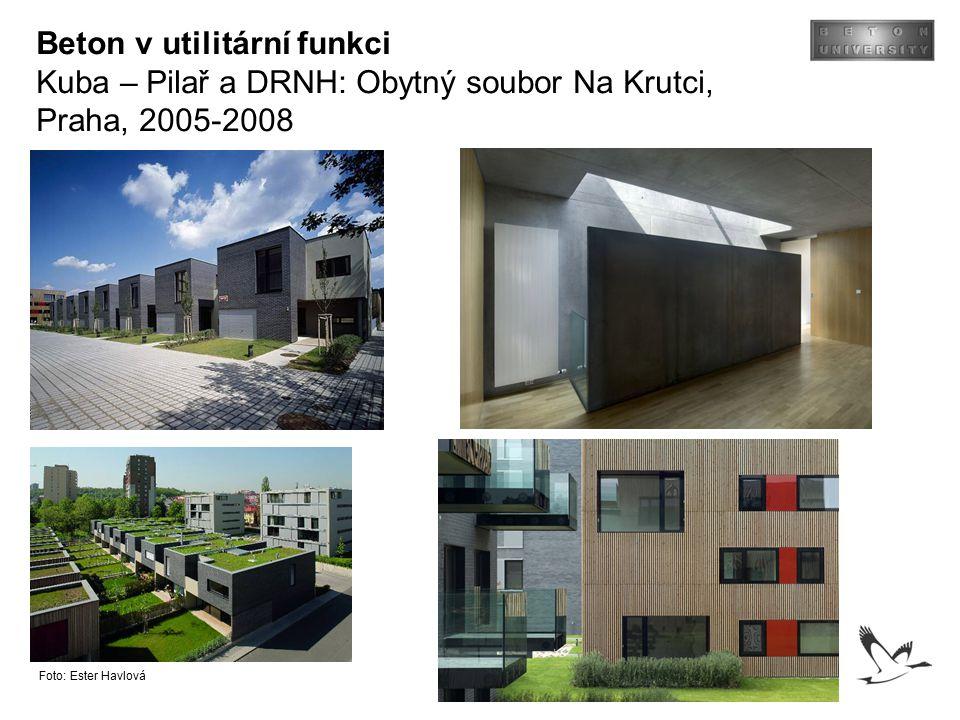 Beton v utilitární funkci Kuba – Pilař a DRNH: Obytný soubor Na Krutci, Praha, 2005-2008 Foto: Ester Havlová